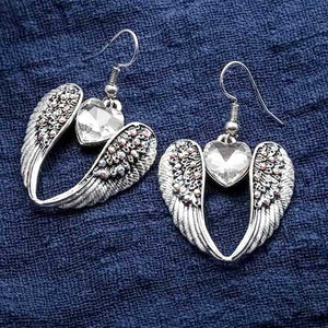 "Angel Wings ""Dangle Heart"" Earrings - Blown Biker - 1"