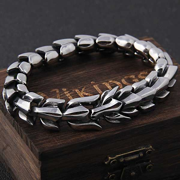 "316L Stainless Steel ""Viking Punk"" Mens Bracelet - Blown Biker - 1"