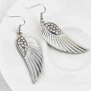 """Rhinestone Angel Wings"" Drop Earrings - Blown Biker"