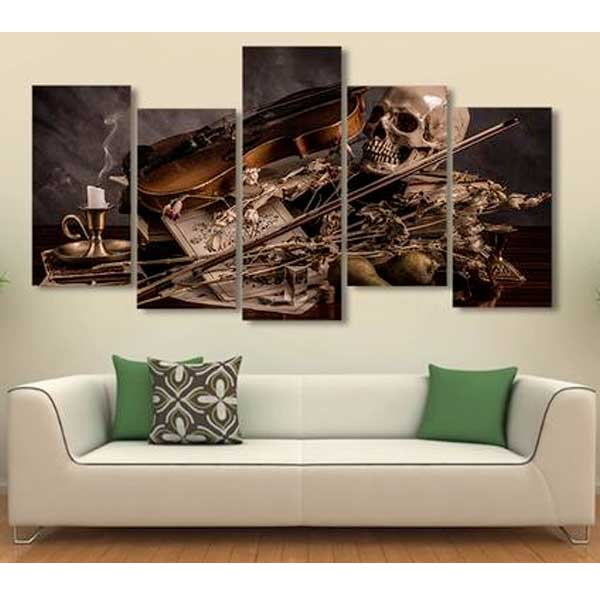 "5 Piece ""Violin Skeleton"" Printed Wall Canvas Set"