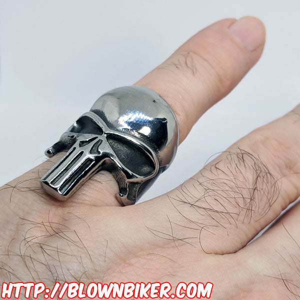 "316L Stainless Steel ""The Punisher"" Ring - Blown Biker - 2"