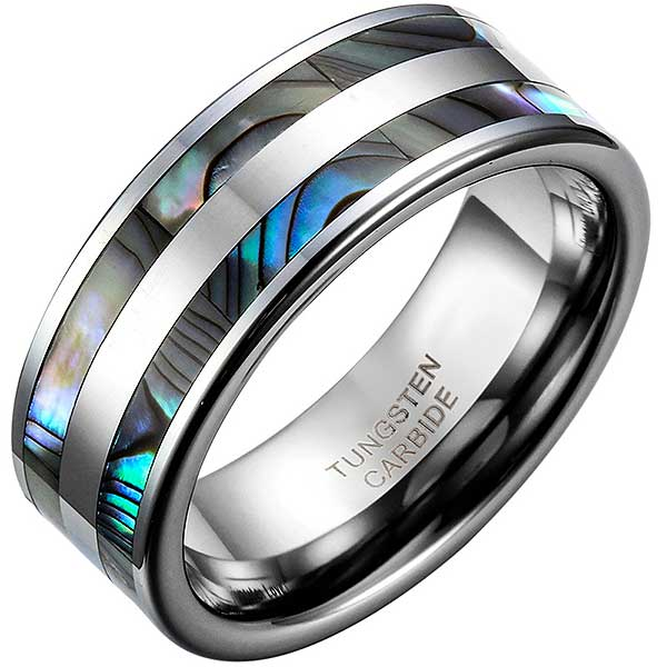 "Tungsten Steel ""Double Abalone"" Unisex Ring"