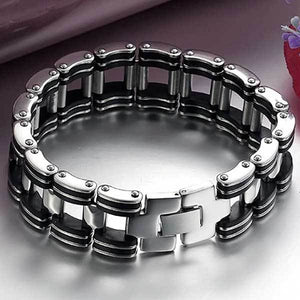 "316L Stainless Steel & Silicone ""Chunky"" Bracelet - Blown Biker - 1"