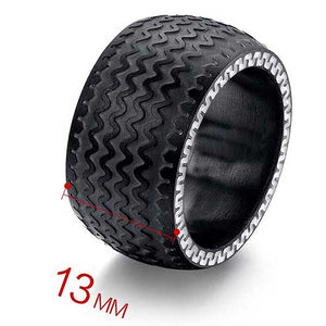 "316L Stainless Steel ""Fatboy Tyre"" Ring - Blown Biker - 5"