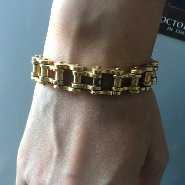 "316L Stainless Steel ""Pure Gold"" Bracelet - Blown Biker - 2"