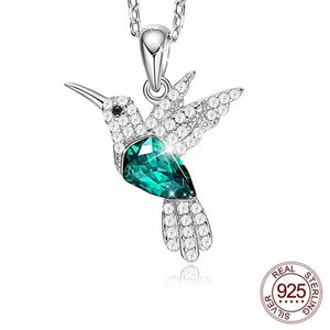 "925 Sterling Silver ""Little Bird"" Luxury Hummingbird Pendant Necklace - Blown Biker - 1"
