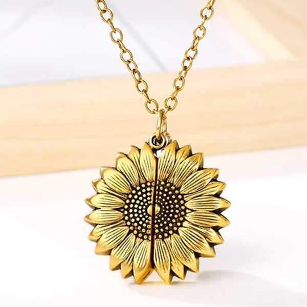 """You Are My Sunshine"" Secret Sunflower Necklace - Blown Biker - 2"