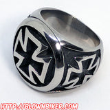 "316L Stainless Steel ""Iron Cross"" Ring - Blown Biker - 3"