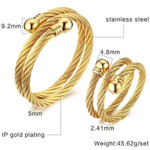 "Gold Plated 316L Stainless Steel ""Twisted Cuff"" Ring/Bracelet Set - Blown Biker - 4"