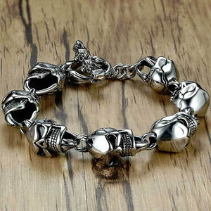 "316L Stainless Steel ""Punk Skull"" Bracelet - Blown Biker - 1"