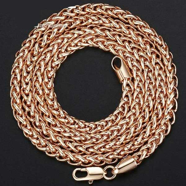 "Rose Gold Plated ""Spiga Plait"" Chain Necklace - Blown Biker - 2"