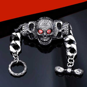 "316L Stainless Steel ""Red Eyed Skull"" Bracelet - Blown Biker - 2"