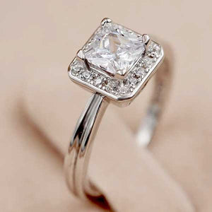 "925 Sterling Silver ""Big Square"" Cubic Zirconia Ring - Blown Biker - 2"