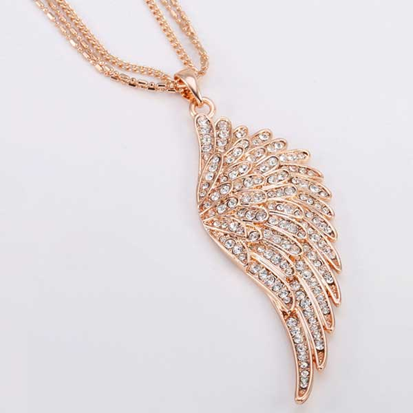 "Rose Gold Angel Wings ""Feather"" Pendant Necklace - Blown Biker - 2"