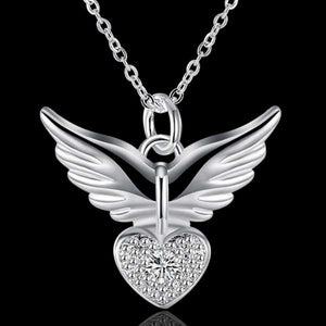 "925 Sterling Silver ""Zirconia Charm"" Angel Wings Necklace - Blown Biker - 3"