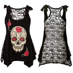 "Lace Skull Backed ""Skull & Flowers"" Vest Top - Blown Biker - 3"