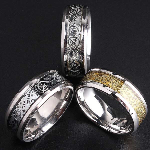 "Tungsten Steel ""Dragon"" Ring - Blown Biker - 2"