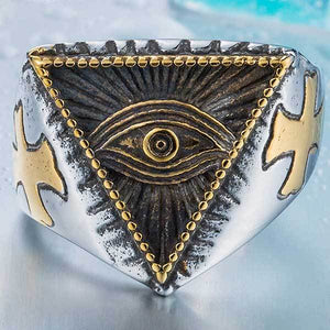 "316L Stainless Steel ""All-Seeing Eye"" Ring - Blown Biker - 3"