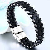 "316L Stainless Steel & Leather ""Braided Cable"" Biker Bracelet - Blown Biker - 2"