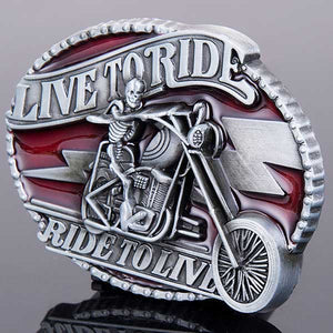 "Live To Ride ""Ghost Rider"" Metal Belt Buckle - Blown Biker - 4"