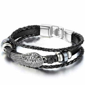 "Leather ""Angel Wings"" Mens Bracelet - Biker - 4"