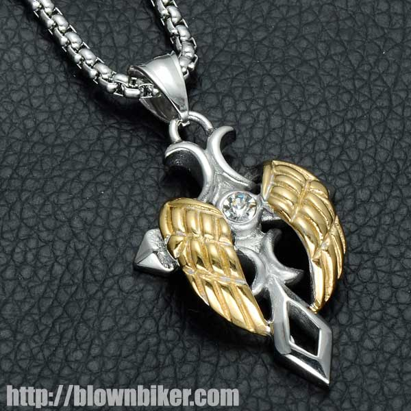 "Gold / Silver Plated Angel Wings ""Cross"" Necklace - Blown Biker - 2"