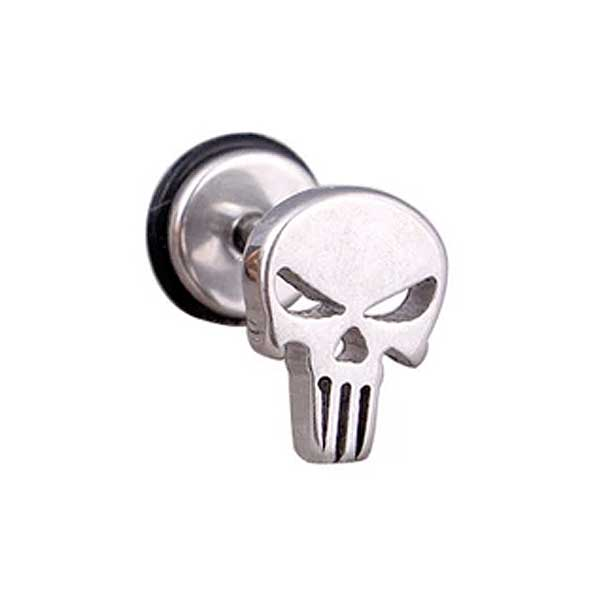 "316 Stainless Steel ""Punisher Skull"" Earrings - Blown Biker - 2"
