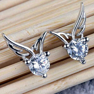"925 Sterling Silver ""Big Zirconia"" Angel Wings Earrings - Blown Biker - 4"
