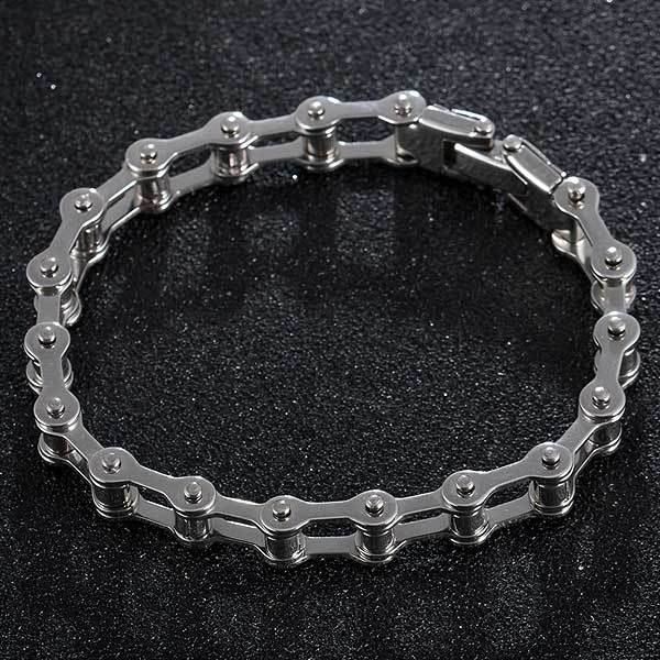 "316L Stainless Steel ""Slimline"" Biker Chain Bracelet - Blown Biker - 3"