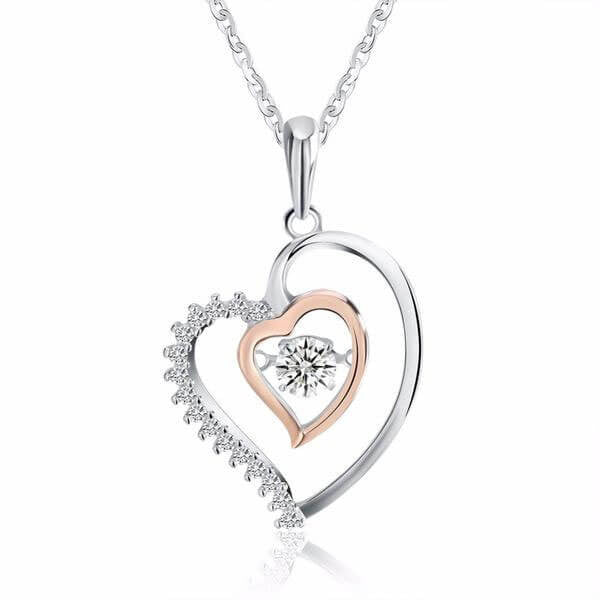 "925 Sterling Silver ""Double Heart"" Pendant Necklace - Blown Biker - 2"