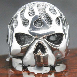 "316L Stainless Steel Biker ""Flame Skull"" Ring - Blown Biker - 5"