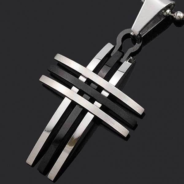 "316L Stainless Steel ""Silver And Gold"" Cross Necklace - Blown Biker - 5"