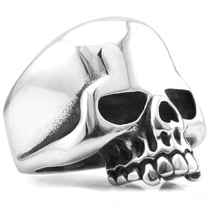 "316L Stainless Steel ""Polished Skull"" Ring - Blown Biker - 3"