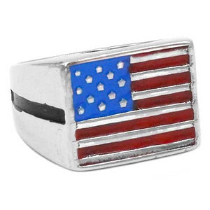"316L Stainless Steel ""American Flag"" Ring - Blown Biker - 2"