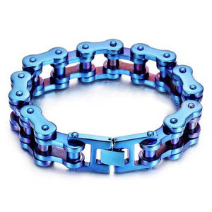 "316L Stainless Steel ""Blue & Purple"" Bracelet - Blown Biker - 2"