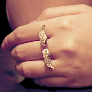 "Rhinestone ""Golden Wings"" Womens Ring - Blown Biker - 3"