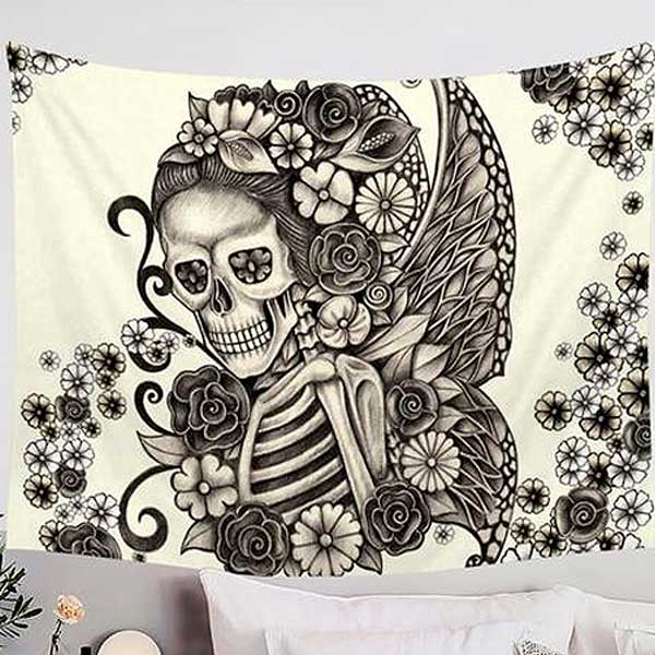 "Microfiber ""Winged Skull & Roses"" Wall Tapestry - Blown Biker - 2"