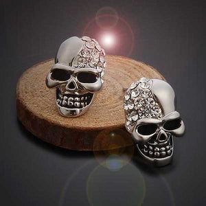 """Rhinestone Skull"" Earrings - Blown Biker - 1"