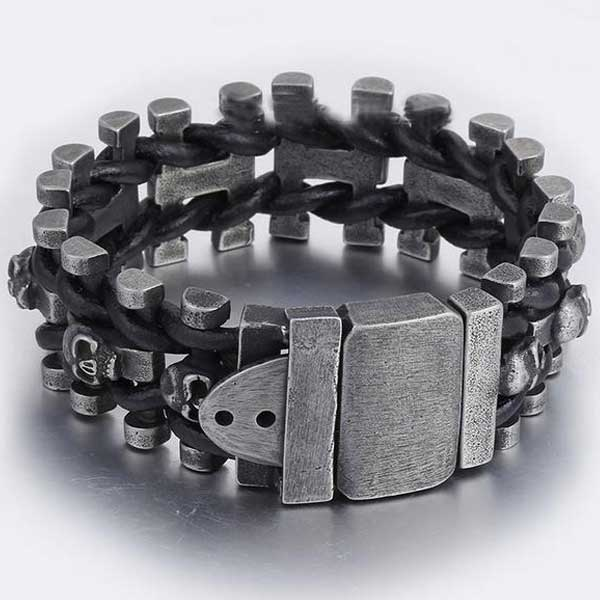 "316L Stainless Steel & Leather ""Braided Skull"" Bracelet - Blown Biker - 2"