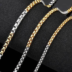 "316L Stainless Steel ""Half-Plate"" Chain Necklace - Blown Biker - 3"