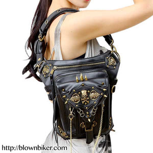 "Steampunk ""Skull & Crossbones"" Womens Hip Bag - Blown Biker - 5"
