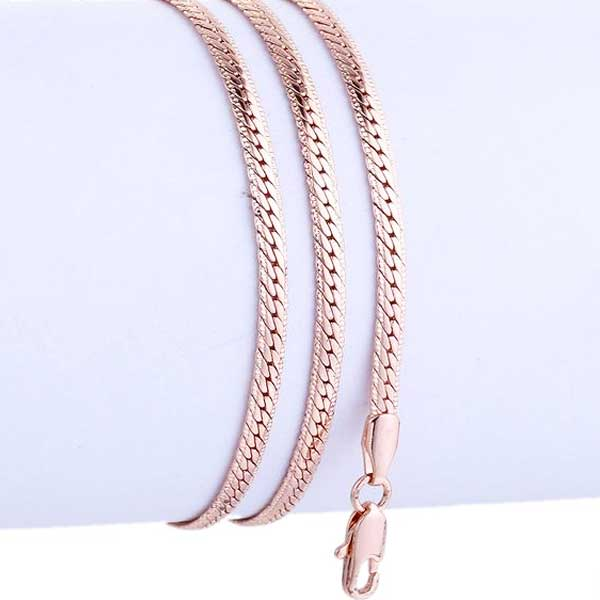 "585 Rose Gold ""Hammered Curb"" Necklace - Blown Biker - 1"