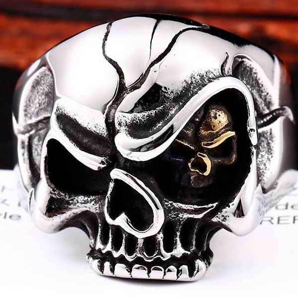 "316L Stainless Steel ""Evil Eye Skull"" Ring - Blown Biker - 2"