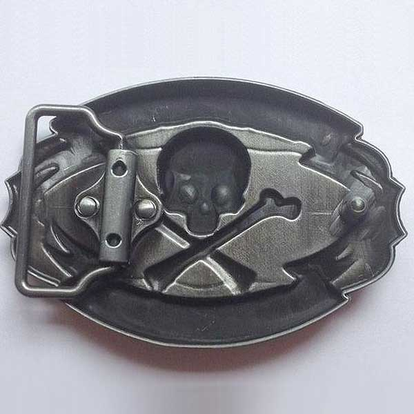 """Old Skool Biker"" Metal Belt Buckle - Blown Biker - 2"