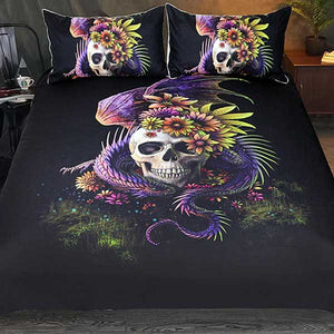 """Flowery Skull"" 3 Piece Bed Set by Sunima - Blown Biker - 1"