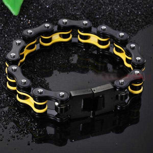 "316L Stainless Steel ""Black & Yellow"" Bracelet - Blown Biker - 2"