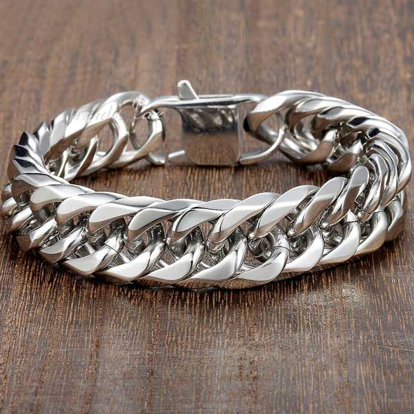 "316L Stainless Steel ""Silver Cuban"" Bracelet - Blown Biker - 1"