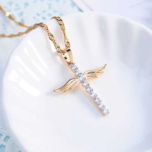 "18k Gold Plated ""Angel Wings"" Cross Pendant Necklace - Blown Biker - 3"