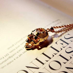 "Rose Gold ""Cracked Zirconia"" Necklace - Blown Biker - 5"