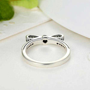 "925 Sterling Silver ""Bow Knot"" Womens Ring - Blown Biker - 3"